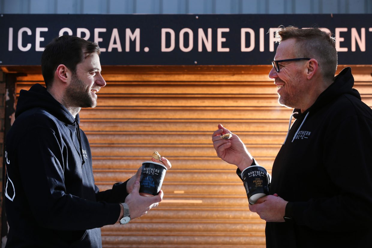 Picture : Lorne Campbell / Guzelian Josh and Dirk, owners of Northern Bloc ice cream, Leeds, West Yorkshire. PICTURE TAKEN ON TUESDAY  22  DECEMBER 2020